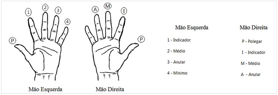 Nomes e sinais das mãos